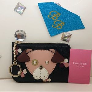KATE♠️SPADE FLORAL PUP L-ZIP KEYCHAIN CARD WALLET